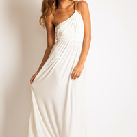 T-bags One shoulder dress in cream