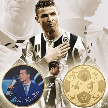 WR 5Pcs 24k Golden Coin Cristiano Ronaldo Metal Craft Coin Real Madrid Commemorative Sports Coins For Christmas Gifts Football