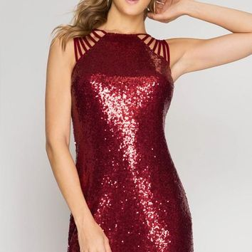 Holiday Sequined Dress - Red