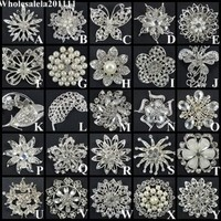 Wholesale Rhinestone Crystal Wedding Bridal Bouquet Flower Pearls Brooch Pin #7