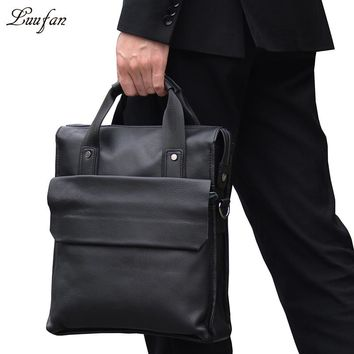 Men's Genuine leather business tote bag cow leather designer messenger bag cowhide handbag for go to work satchel bag
