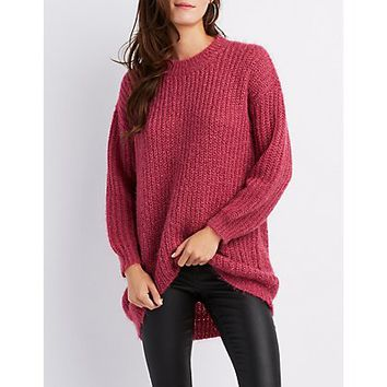Fuzzy Crew Neck Pullover Sweater | Charlotte Russe