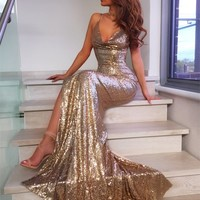 Lady in Gold Sequin Maxi Dress