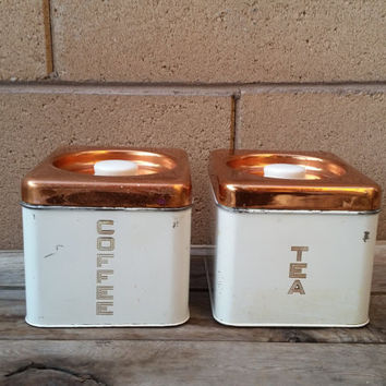 Beautyware by Lincoln White and Copper Painted Coffee and Tea Bag Tin Container (2)piece