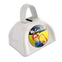 Rosie The Riveter - War Poster White Cowbell Cow Bell
