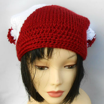 Red and White Team Colors Hat Crochet Pom Pom Hat