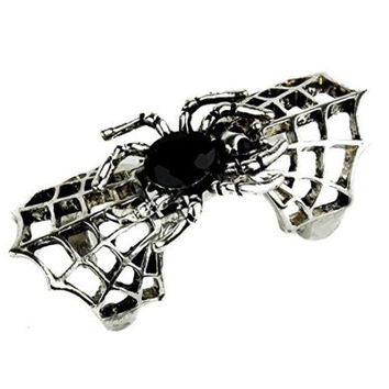 ac spbest Black Stone in Spider Web Ring Gothic Silver Design Gothic Jewelry