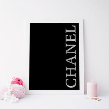 Printable art COCO CHANEL BLACK Poster,poster print,coco chanel art,printable art,chanel logo black,fashion print,prints and quotes,wall art