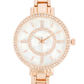 Geneva Crystal Lined Rose Gold Link Watch
