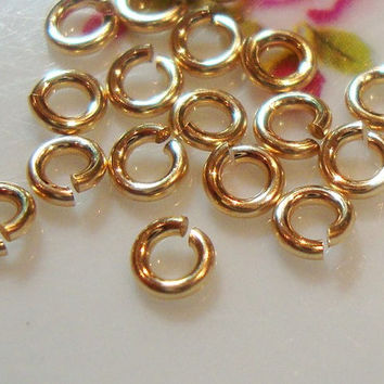 14k GOLD Filled Jump Rings, Open Jumprings, Bulk 200 pcs, 3mm, 20.5 gauge ga, Strong Lock