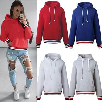 Womens Hoodie Sweatshirt Hooded Drawstring Sweater Jumper Casual Pullover Tops