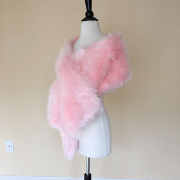 Pink Faux Fur Wrap Shawl Coat Shrug Stole Cape, Wedding Bridal Faux Fur Wrap Shawl Coat Shrug Stole Cape