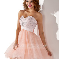 [US$ 125.99] A-Line/Princess Sweetheart Short/Mini Organza Satin Homecoming Dress With Beading Sequins (022009078)