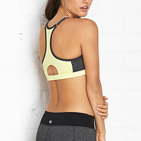 FOREVER 21 Medium Impact- Mesh Back Sports Bra Charcoal/Yellow X-Small