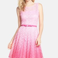 Women's Chetta B Belted Ombre Lace Fit & Flare Dress,