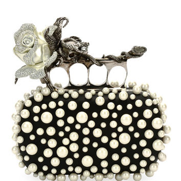 Alexander McQueen Crystal Rose Knuckle Clutch Bag