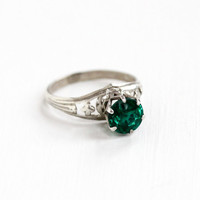 Vintage Sterling Silver Art Deco Filigree Simulated Emerald Ring - 1930s Size 5 Dark Green Glass Stone Solitaire Statement Jewelry