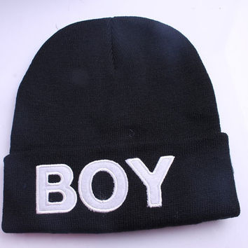 Rihanna Inspired Black BOY Beanie Hat Cap