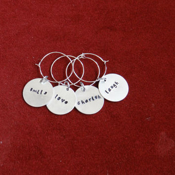 WINE GLASS CHARMS  Handstamped (other pieces can be customized/personalized)