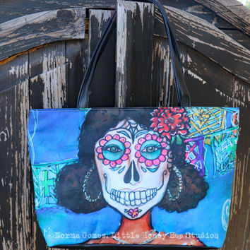 Sugar Skull Purse - Dia De Los Muertos HandBag - Sugar Skull Shoulder Bag - Dia De Los Muertos Art - Chicana Art - Gifts for Her - Folk Art