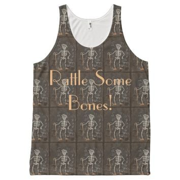Antique Skeleton Spooky Gothic One Text Area All-Over Print Tank Top