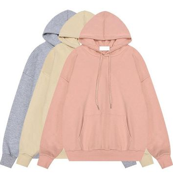 Women Hoodie 2017 Autumn French Terry Hooded Sweatshirt Woman Basic Plain Color Pullover Top Girls New Design Casual Hoody Black