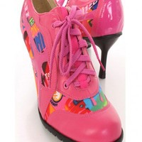 Fuchsia Faux Leather Printed Canvas Sneaker Booties - Booties - SHOES