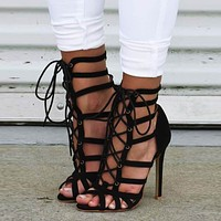 High Heel Peep Toe Strappy Ankle Sandals