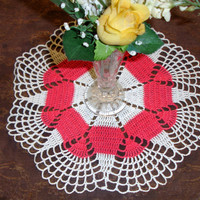 """Doily hand crocheted, pink and white, retro, girls room, hand made, 11.5"""" round, vintage 1960s"""