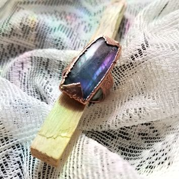 Purple Labradorite with Patterned Band Ring size 9