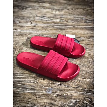 Adidas Benassi Swoosh Sandals Style #9 Red Slippers - Sale