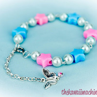 Kawaii Fairy Kei Pastel Goth Sweet Lolita Star and Pearl Beaded Bracelet Pink or Purple