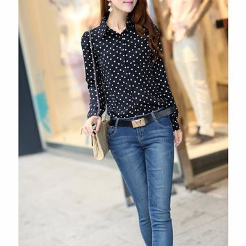 Casual Women Blouses New Summer Lady Shirt Female Polka Dots Vintage Design Long Sleeve Turn Down Collar Clothing