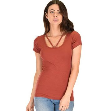 RUST-ROXANNE STRAPPY RIBBED TOP