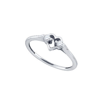 10kt White Gold Womens Round Diamond Heart Love Promise Bridal Ring 1/8 Cttw 77591