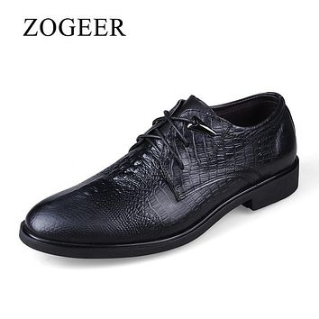 ZOGEER Big Size 38-47 Crocodile Mens Dress Shoes, Genuine Leather Men Oxfords, New Lace Up Oxford Shoes For Man