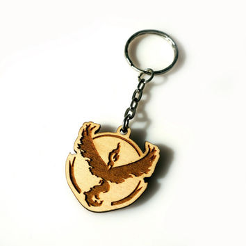 Pokemon GO Wooden Keychain Valor Team Laser Etched and Engraved The Best Gift for Her for Him