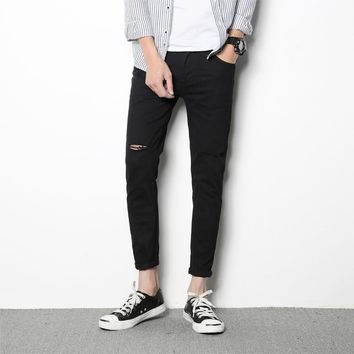YINOS Knee Hole Ripped Skinny Jeans Men High Stretch Slim Elastic Pencil Pants Male Homme Scratch Black White Trousers 2017