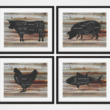 Butcher Wall Decor, Butcher Prints, Butcher Chart, Butcher Diagram, Cow Art, Pig Decor, Farmhouse Art, Rustic Wall Art, Farmhouse Decor