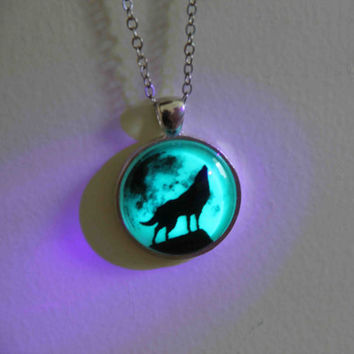 sale: moon wolf necklace glow in the dark after UV absorption necklace noctilucent necklace friendship love gifts unique lovers gifts