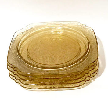 Federal Glass Plate, Madrid Amber, Depression Glass Dinner Plate, Old Glass, 9 inch Plate, Set Of 5 Plates, Vintage 1930s