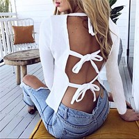 Simple Fashion Hollow Bandage Backless Long Sleeve Solid Color T-shirt Women Tops