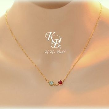 Mothers Necklace, Gold Birthstone Necklace, Mothers Jewelry, Mother Of The Bride Gift, Mothers Day Gift, Gold Filled Necklace, Birthstone Jewelry | KyKy's Bridal, Handmade Bridal Jewelry, Wedding Jewelry