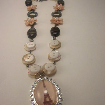 Eiffel Tower French bohemian Victorian Necklace, Buttons and Flowers Chain, Eiffel Tower Charm, 16 inch