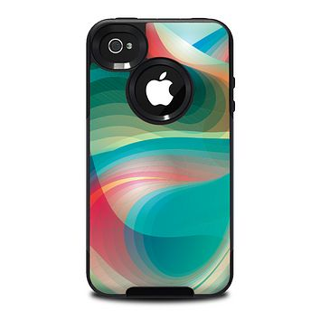 The Vivid Turquoise 3D Wave Pattern Skin for the iPhone 4-4s OtterBox Commuter Case