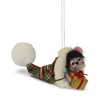Annalee Dolls 3in 2018 Christmas Plaid Tidings Mouse in Hat Ornament New w Box