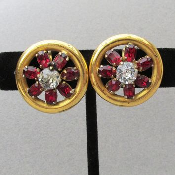 Retro 1940's Gold Plated Sterling Silver Vermeil Ruby Rhinestone BUTTON Screw Back Earrings