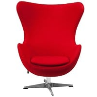 Red Wool Fabric Contemporary Armchair Egg Shaped Living Room Accent Chair