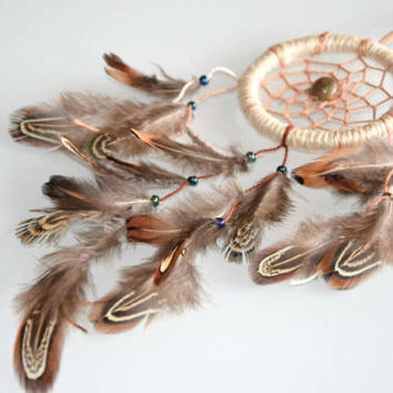 Tribal  Mini Dream Catcher, Car Dream Catcher, Jade Stone, Pheasant Feathers Dream Catcher, Car Charm, Car Accessory