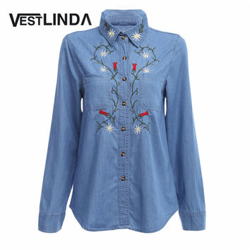 VESTLINDA Casual Floral Embroidered Women Denim Blouse Shirt Vintage Long Sleeve Jeans Tops office Blouses Lady Blusas Feminino